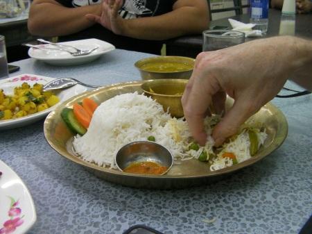 rice, vegetable curry, lentil soup