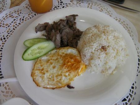 egg, garlic rice, beef