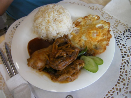 egg, rice, chicken adobo