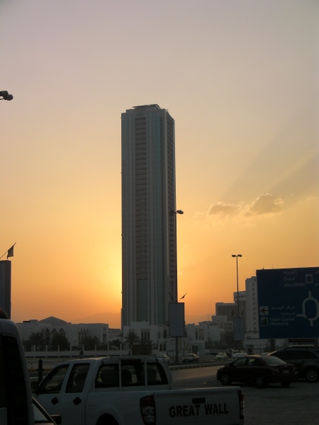 Fujairah Tower backed by the sunset