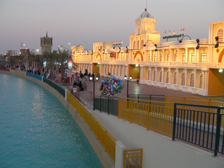 artificial canal and pavilions