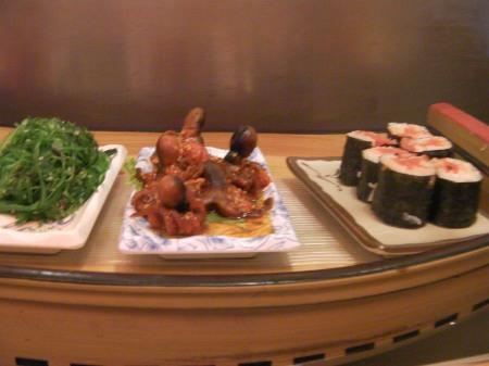 sushi dish of small octopi