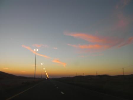 wispy pink clouds