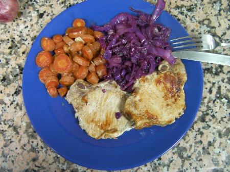 pork chops, gingered carrots, red cabbage