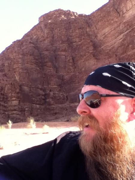bearded man and limestone mountain