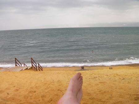 Dead Sea, beach, feet