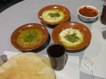three bowls of food