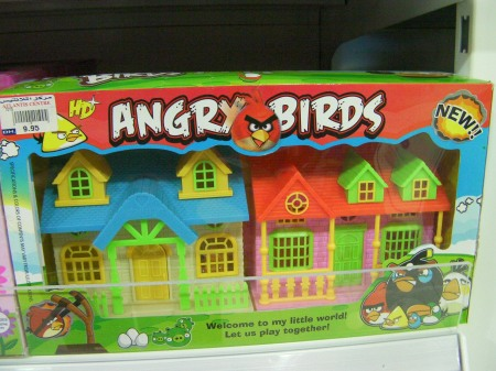 "toy houses labeled ""angry birds"""