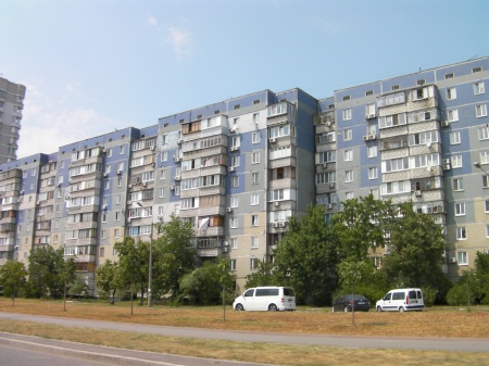 Soviet style apartment buildings
