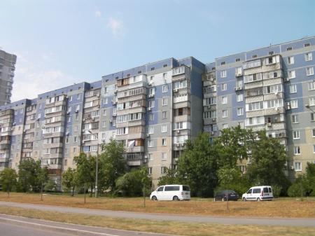 Soviet style apartment buildings