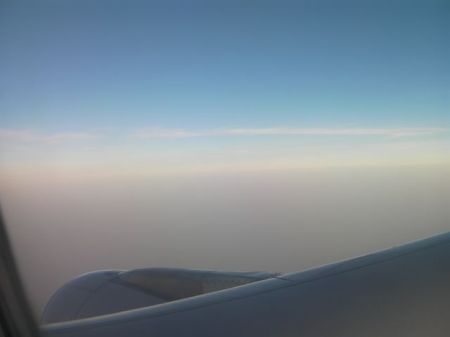 brown haze out the airplane window