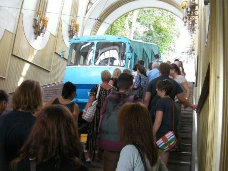 steep hillside rail car