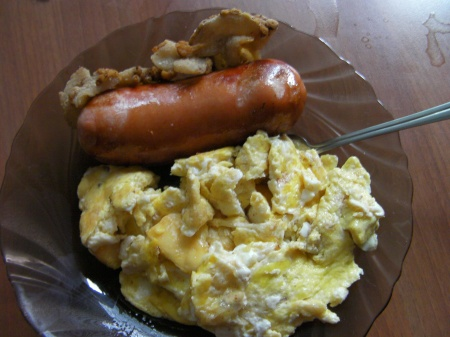 bacon, sausage, scrambled eggs