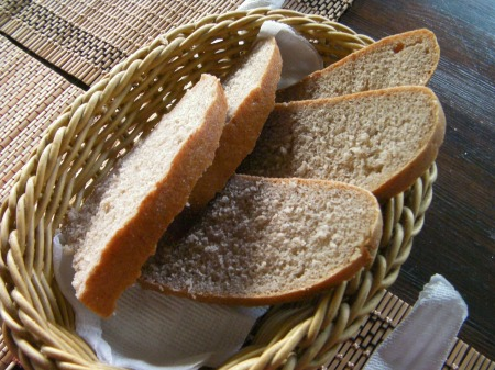 light brown bread slices in a basket