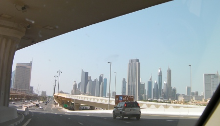 approaching Dubai Mall and Sheikh Zayed Road