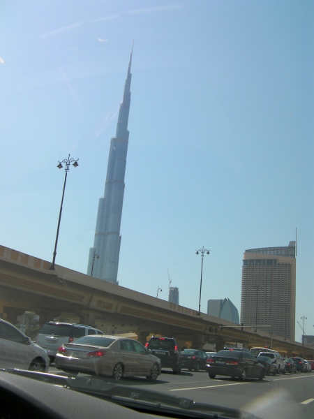 view of the tallest building in the world from the street below