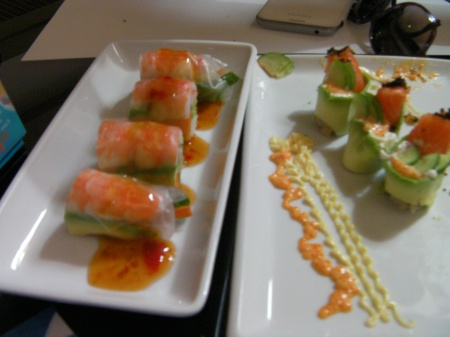 shrimp, cucumber, rolled in rice wrapper