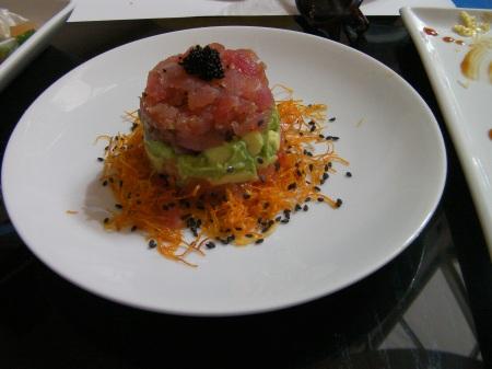 tuna, avocado, fried carrots
