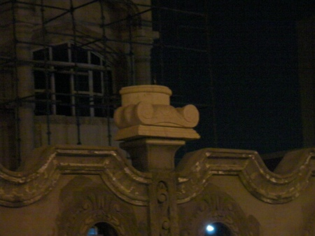 close up of upside down ionic capital