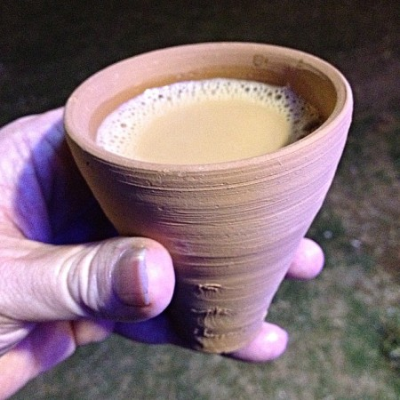 milk tea in a unglazed clay cup
