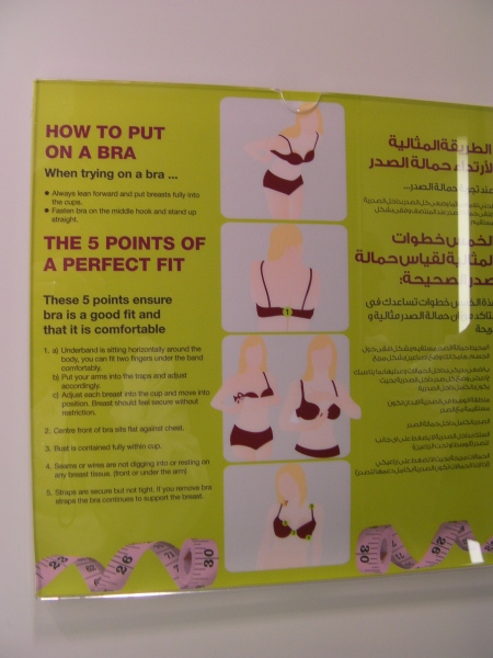 bilingual sign explaining how to put on a bra