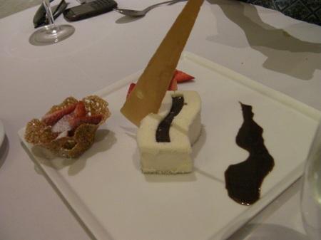 cheese cake and chocolate sauce