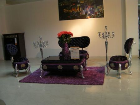 strange purple chairs