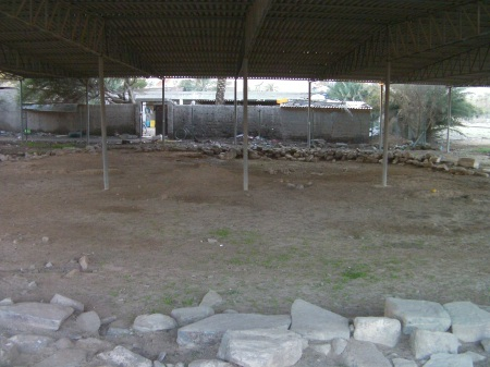 covered archeological site, stone riuns