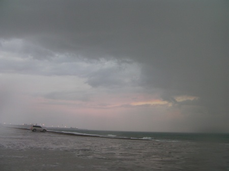 beach, storm clouds, rain