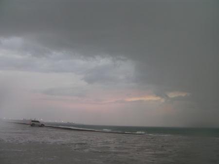beach, storm clouds, rain
