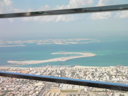 view of the world islands from the Burj Khalifa observation deck