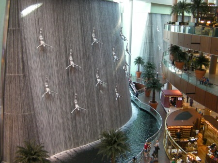 waterfall with 30 lifesize diver figures