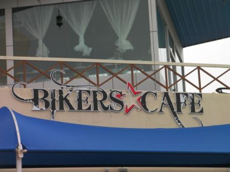 Biker's Cafe restaurant sign