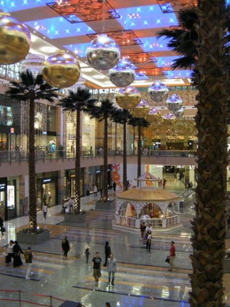 shopping mall decorated for Christmas