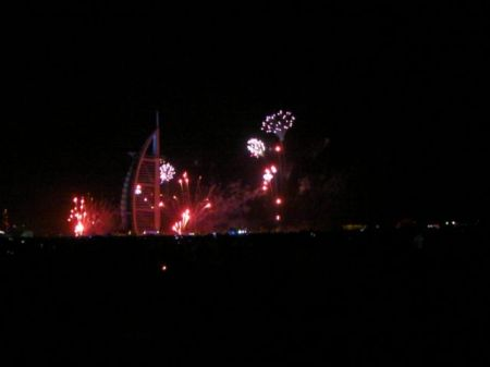 fireworks around the Burj Al Arab hotel