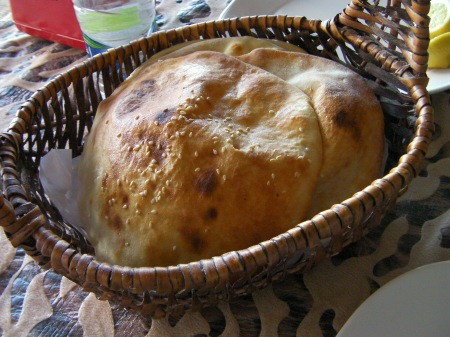 basket of fresh pocket bread
