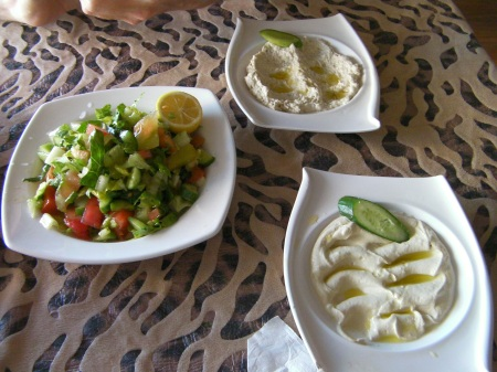 green salad, hummous, mutabel