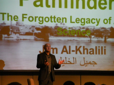 Jim Al-Khalili presenting about his book Pathfinders