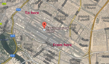 Google map of DXB airport showing point of departure to point of arrival at plane on opposite ends