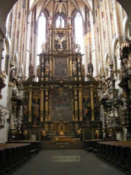 very tall ornate church altar