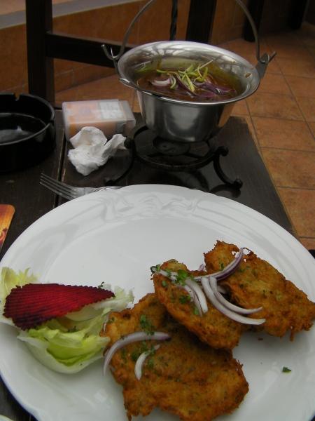 potato pancakes and goulash stew