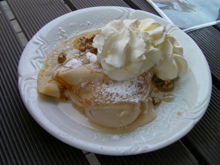crepes, ice cream, whipped cream