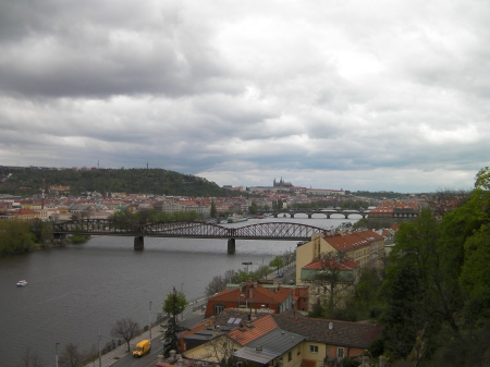 Vltava River through Prague, several bridges