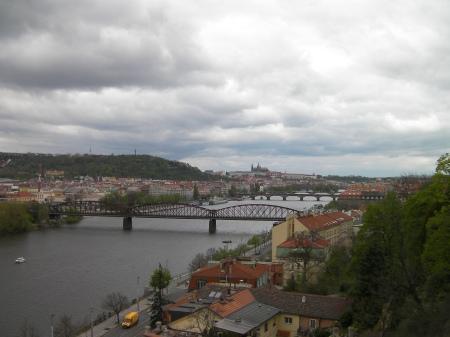 Vltava River through Prague, several bridges