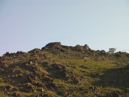 close up of fort ruins at top of the hill
