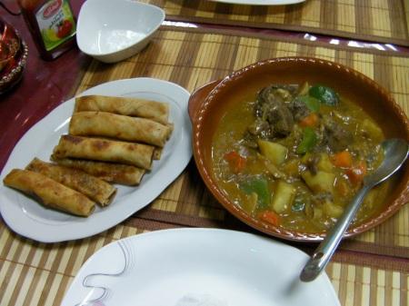 lumpia rolls and beef caldereta