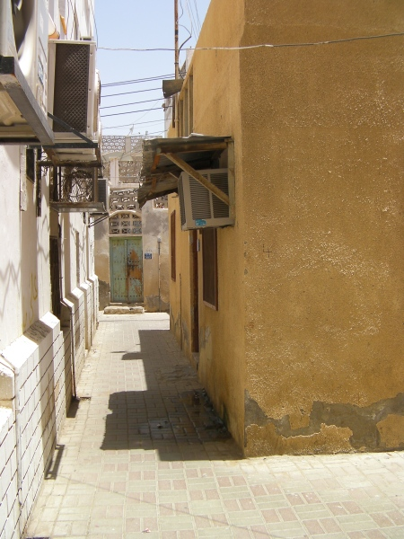 narrow paved alley