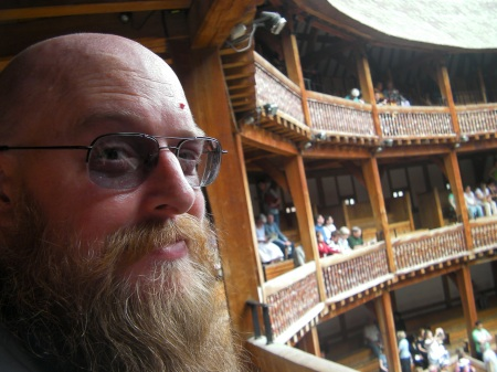 man at the Globe Theatre