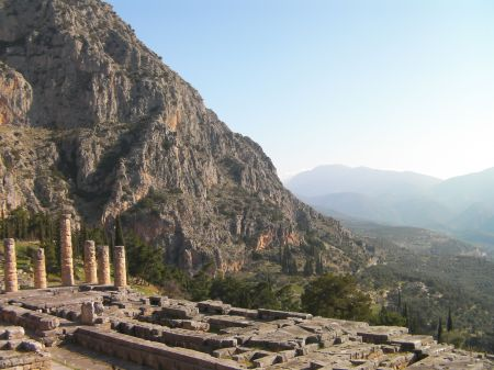 Greek ruins on side of mountain