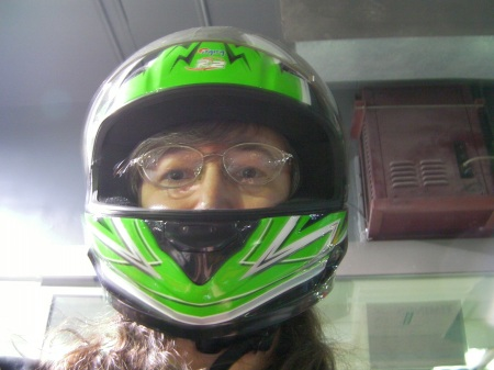 woman wearing driving helmet